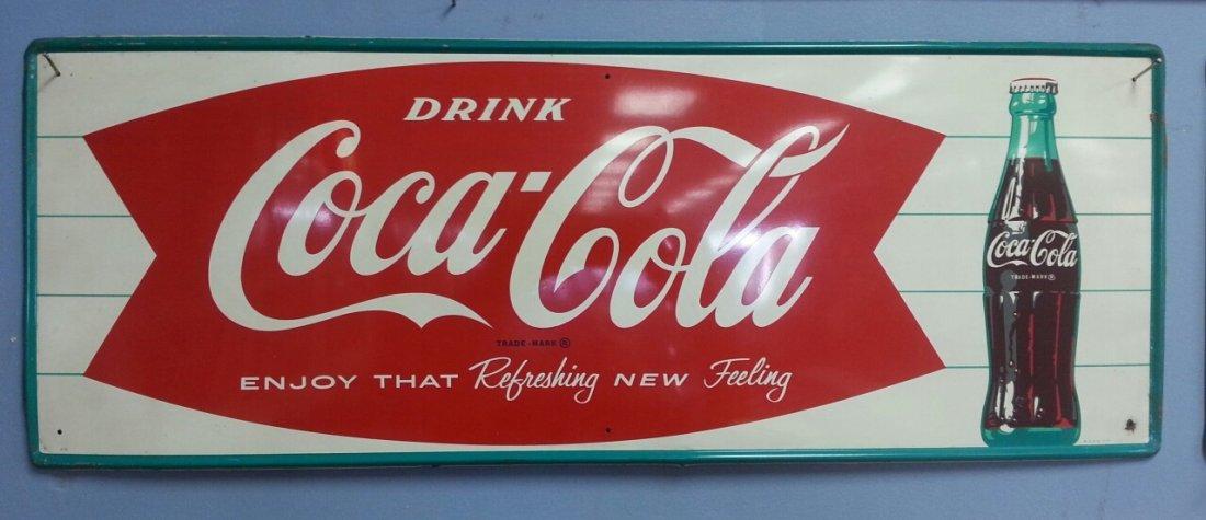 Original  Fishtail Coca Cola Advertising Sign