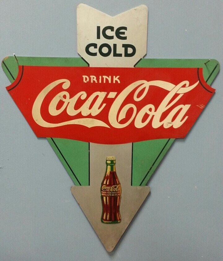 1930's Kay Display plywood arrow advertising sign