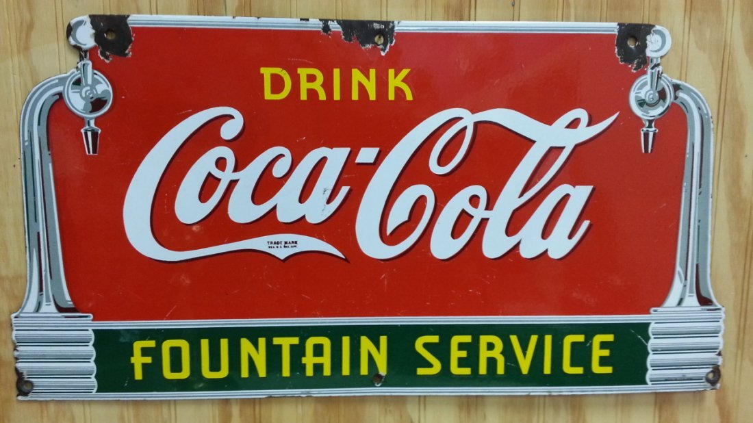1930's porcelain Coca Cola fountain service sign