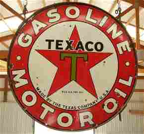 Porcelain 2 sided Texaco Gasoline Motor Oil sign