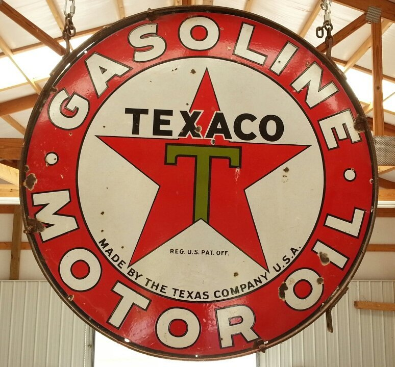 Porcelain 2 sided Texaco Gasoline Motor Oil sign