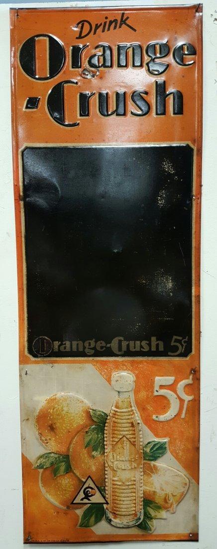 Early embossed Orange Crush Menu Board
