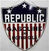 2 sided Porcelain REPUBLIC Gasoline and Motor Oils sign