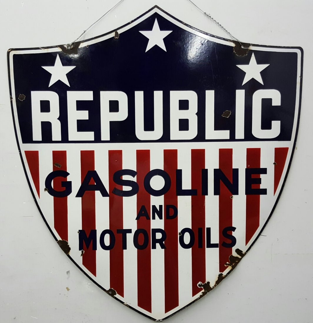 2 sided Porcelain REPUBLIC Gasoline and Motor Oils sign