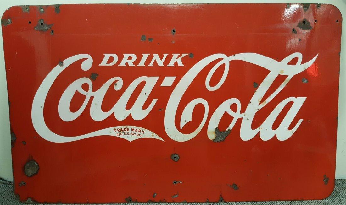 1930's 2 sided Porcelain Coca Cola sign