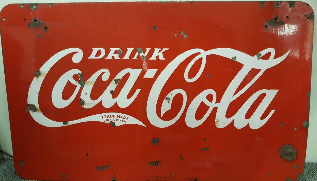 1930's 2 sided Porcelain Coca Cola sign - 2