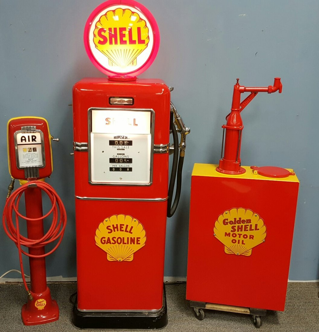 Restored Shell Gas Pump, Tireflator, & Lubester