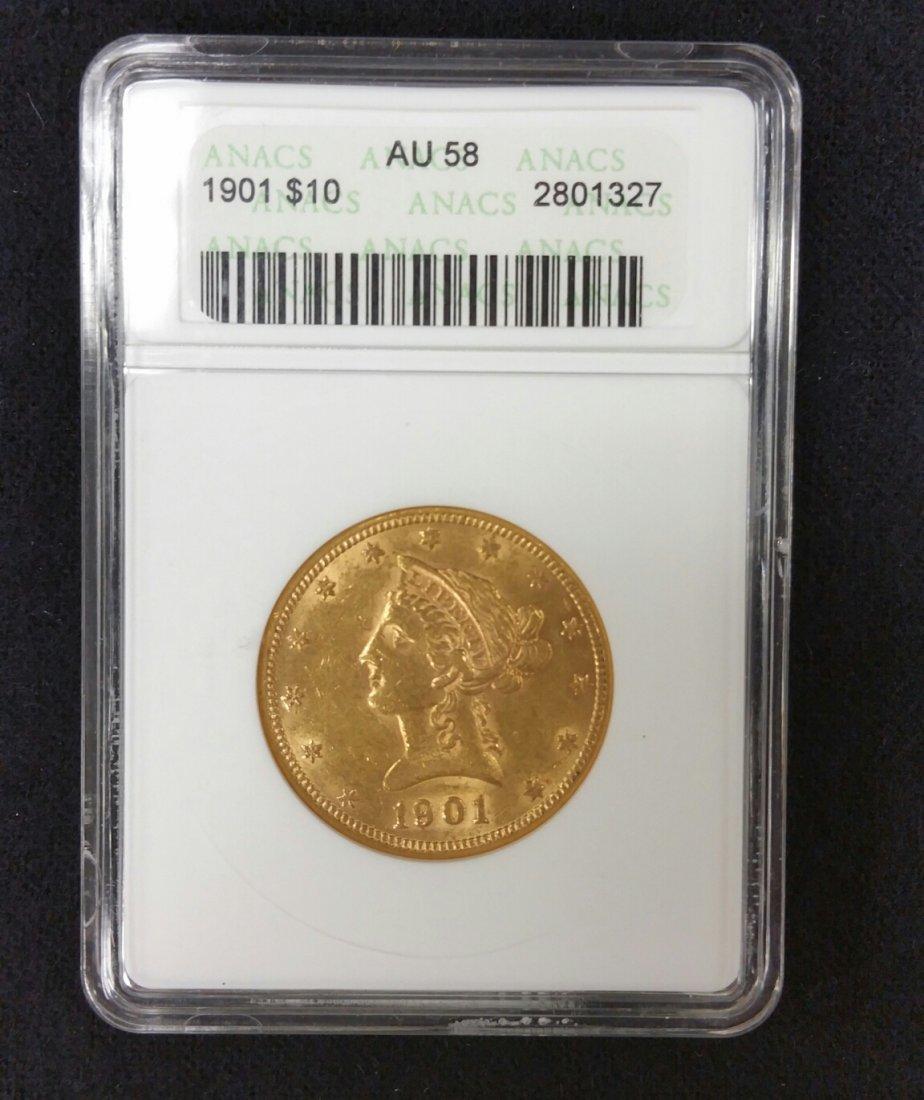 1901 $10 Gold Coin AU58