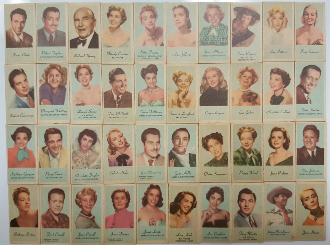 1940's Engrave-o-Tints Movie Star Cards