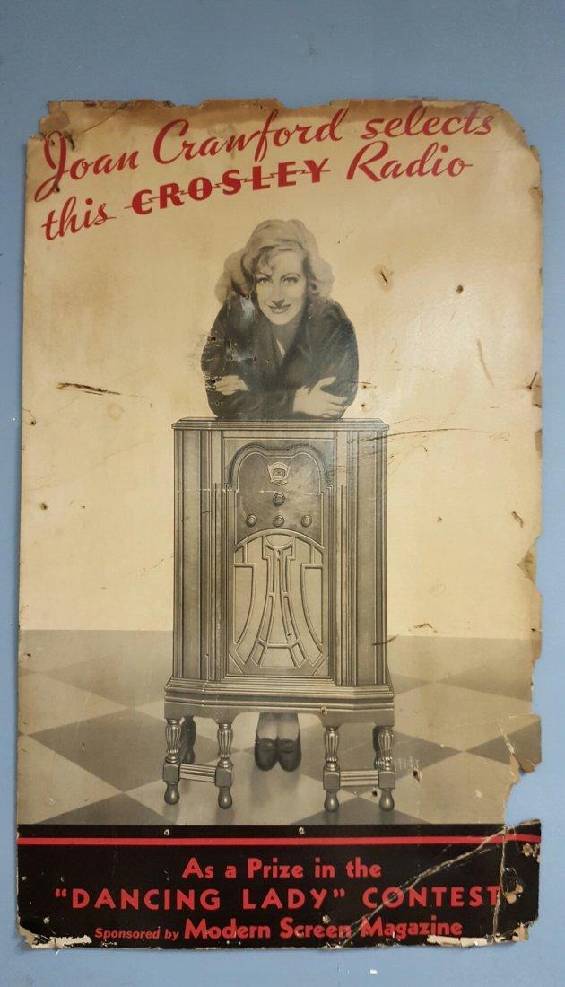 Scarce Joan Crawford - CROSLEY Radio sign