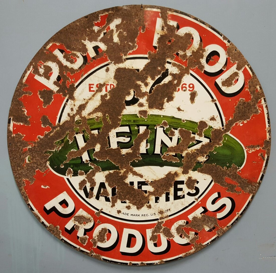 "33"" Original Porcelain Heinz 57 Pure Food Products sign"