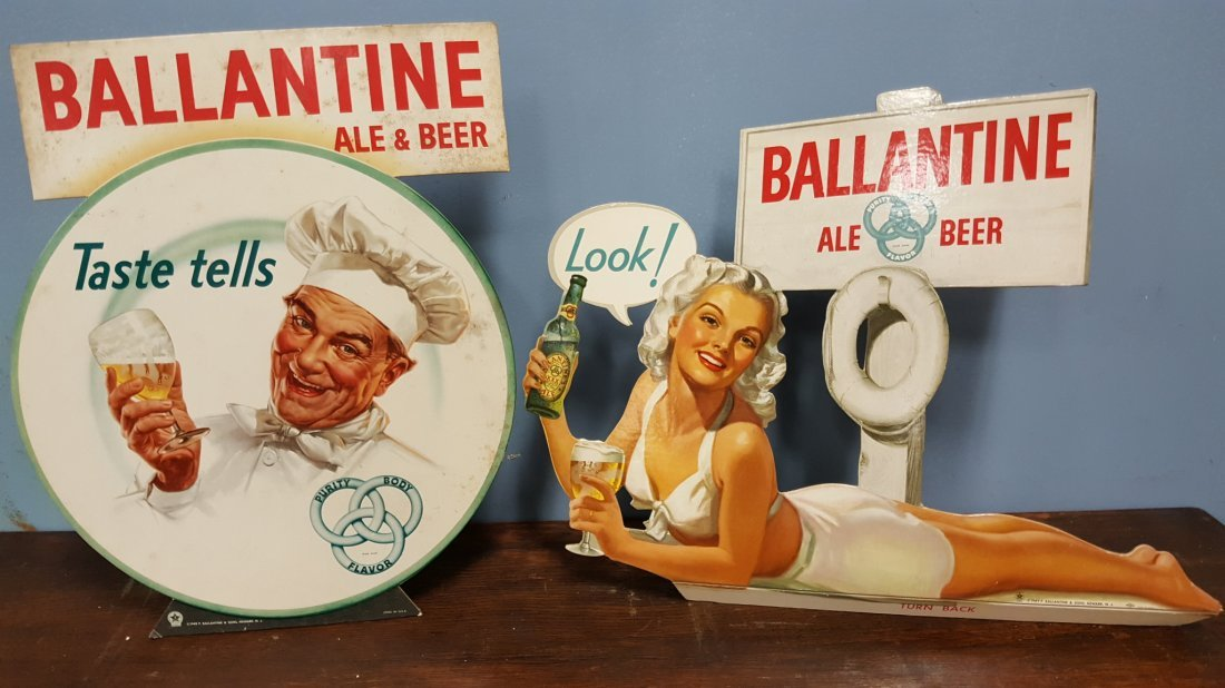 Pair of 1940's BALLANTINE Cardboard Stand up signs.