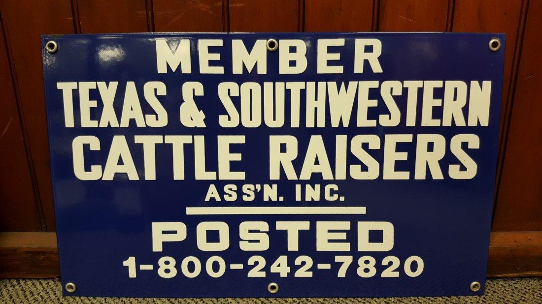 Porcelain Texas & Southwestern Cattle Raisers sign