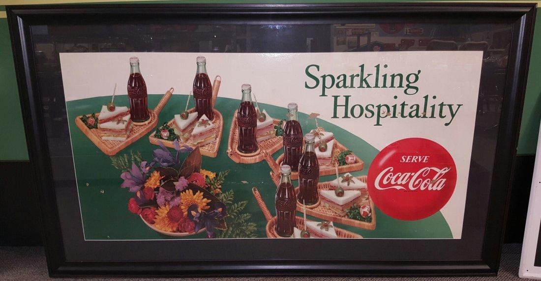 Framed Coca Cola Sparkling Hospitality Cardboard sign