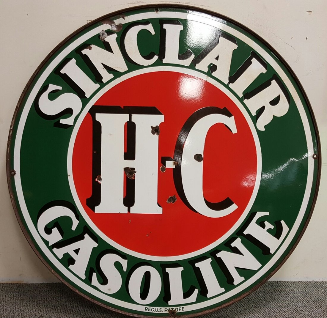 "48"" Porcelain 2 sided Sinclair Service Station Sign"