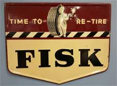 1948 Fisk Embossed Time To Re-Tire Sign