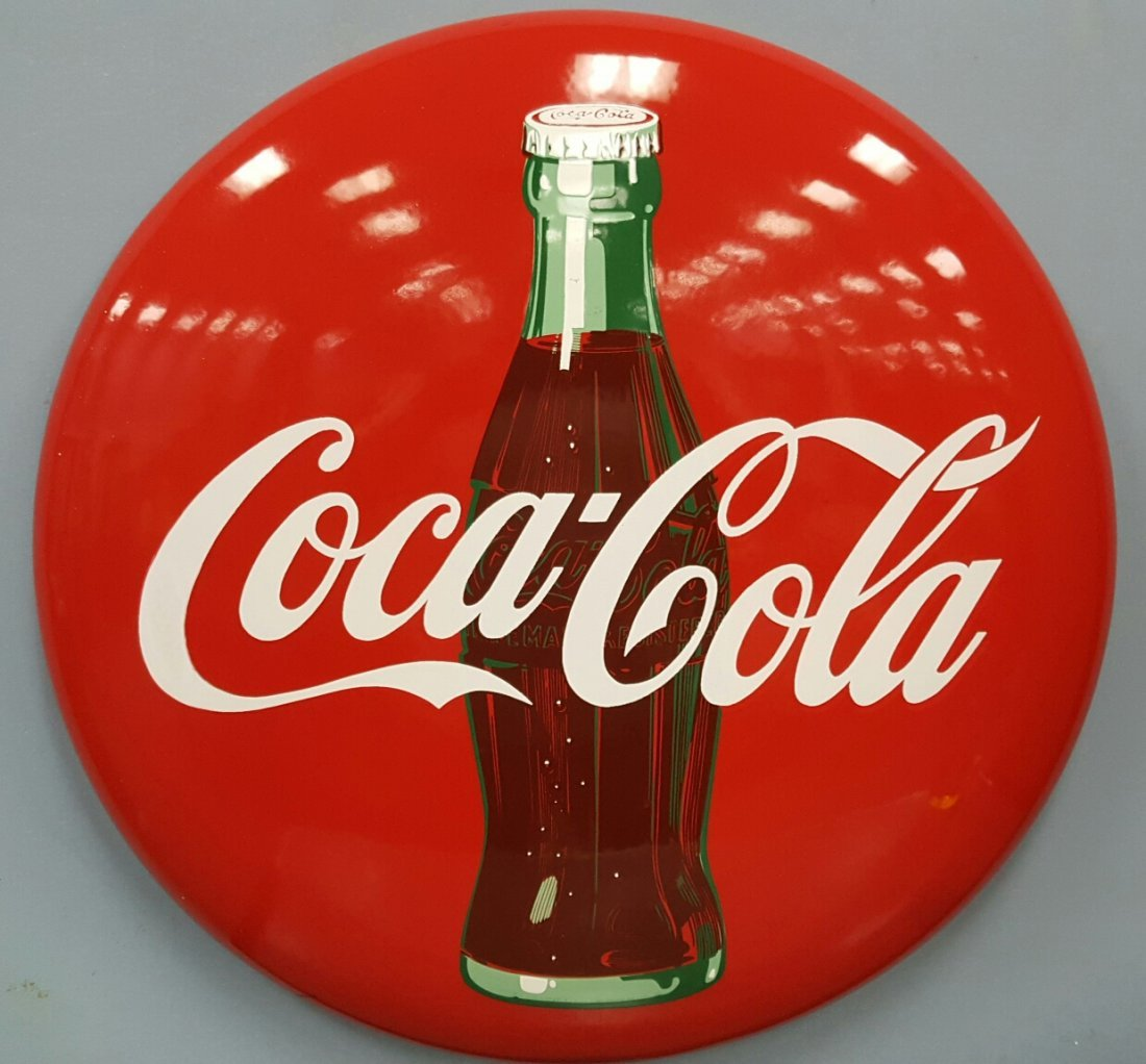 "24"" Porcelain Coca Cola Button Sign with Bottle"