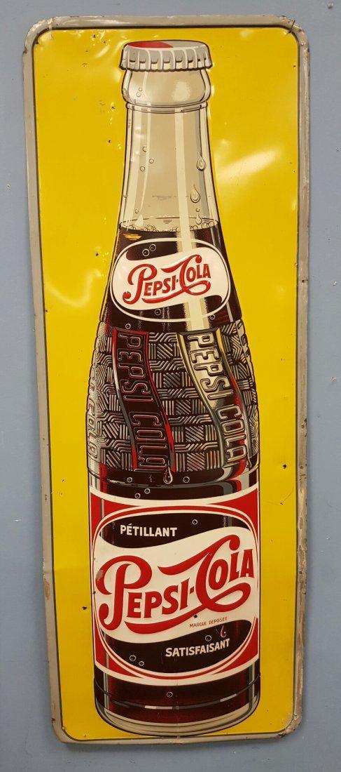 1954 Embossed Vertical Pepsi Cola Bottle Sign