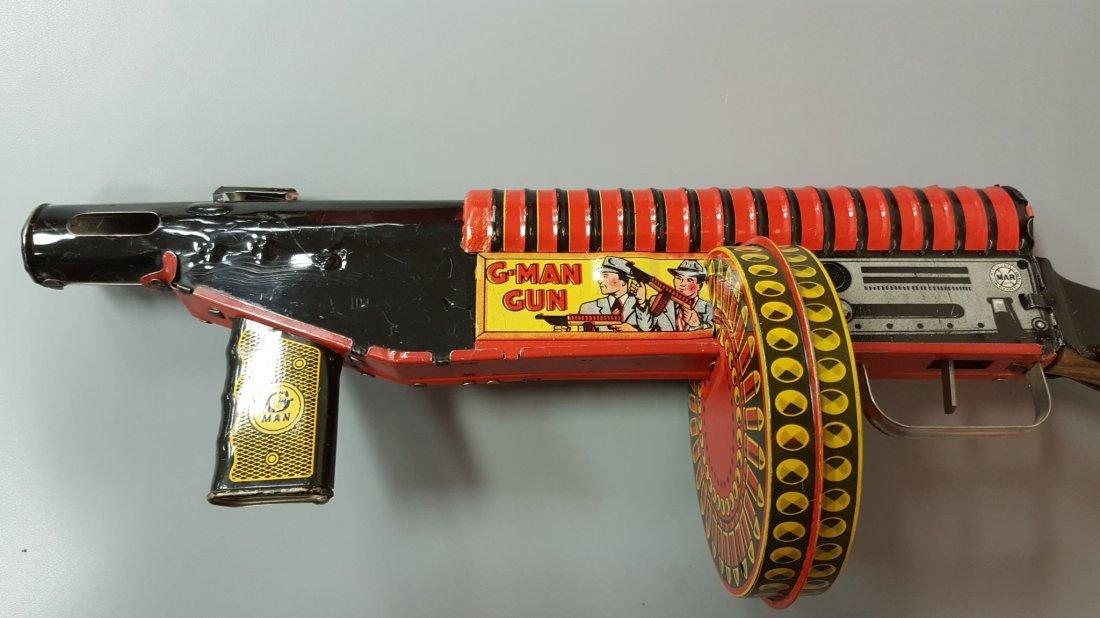 Marx G-Man Tin Wind Up Sparking Toy Gun