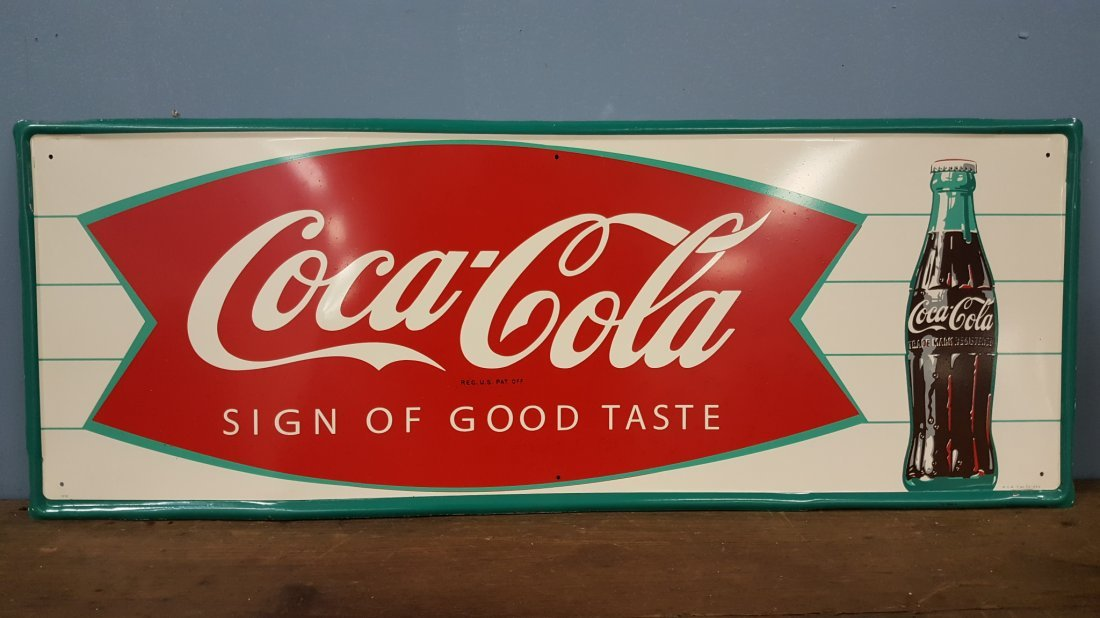 NOS Coca Cola Fishtail Sign of Good Taste Sign