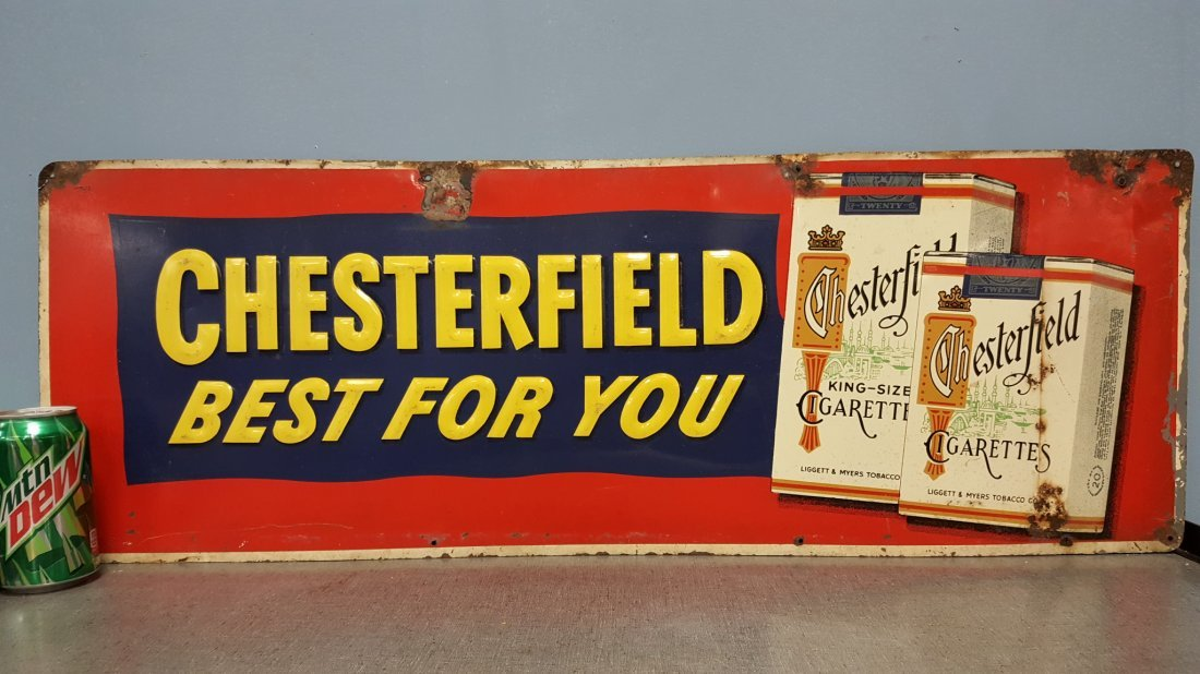 Embossed Chesterfield Tin Sign