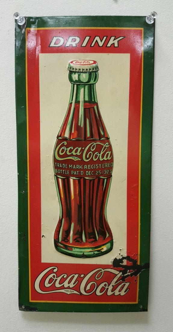 RARE 1931 Drink Coca Cola Christmas Bottle Tin Sign