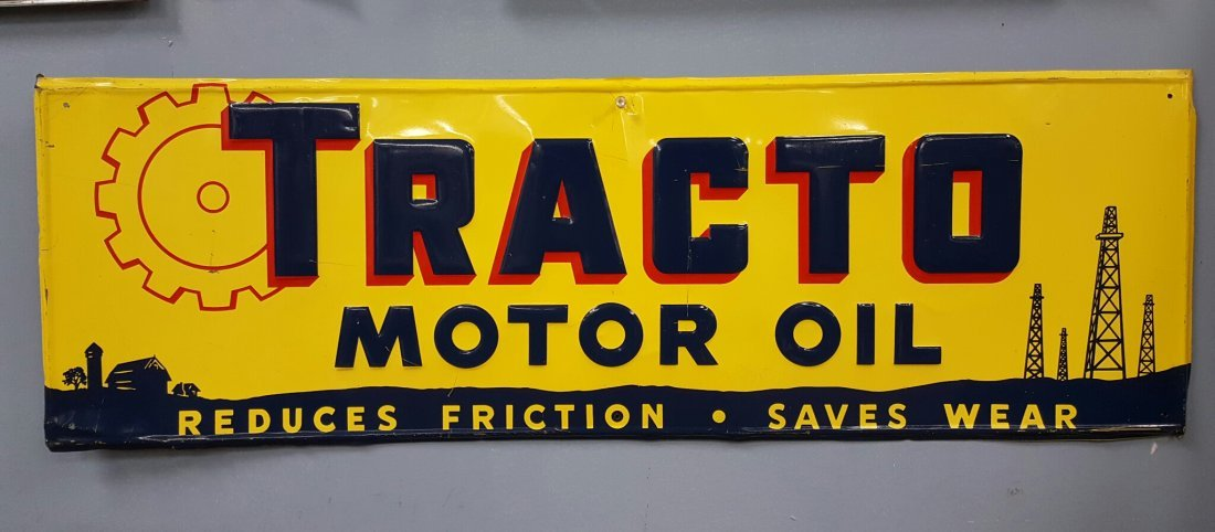 Tracto Motor Oil Tin Sign