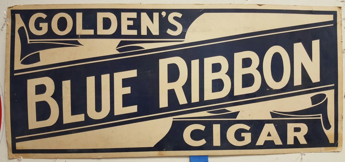Golden's Blue Ribbon Cigar Sign