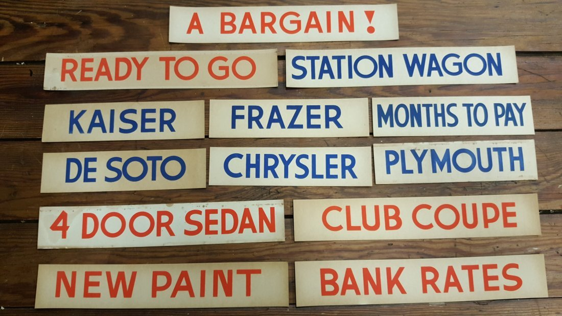Lot of 13 Cardboard Signs from a 1940's Car Dealership