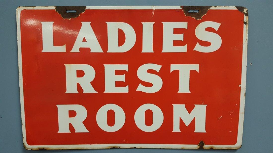 Porcelain 2 Sided Ladies Rest Room Sign