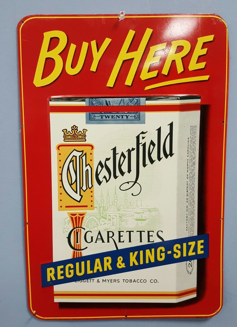 NOS Buy Here Chesterfield tin sign