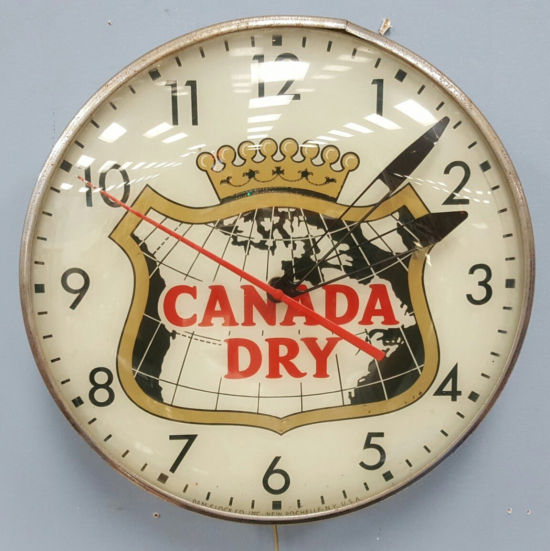 1950's Canada Dry Ligh Up Pam Clock