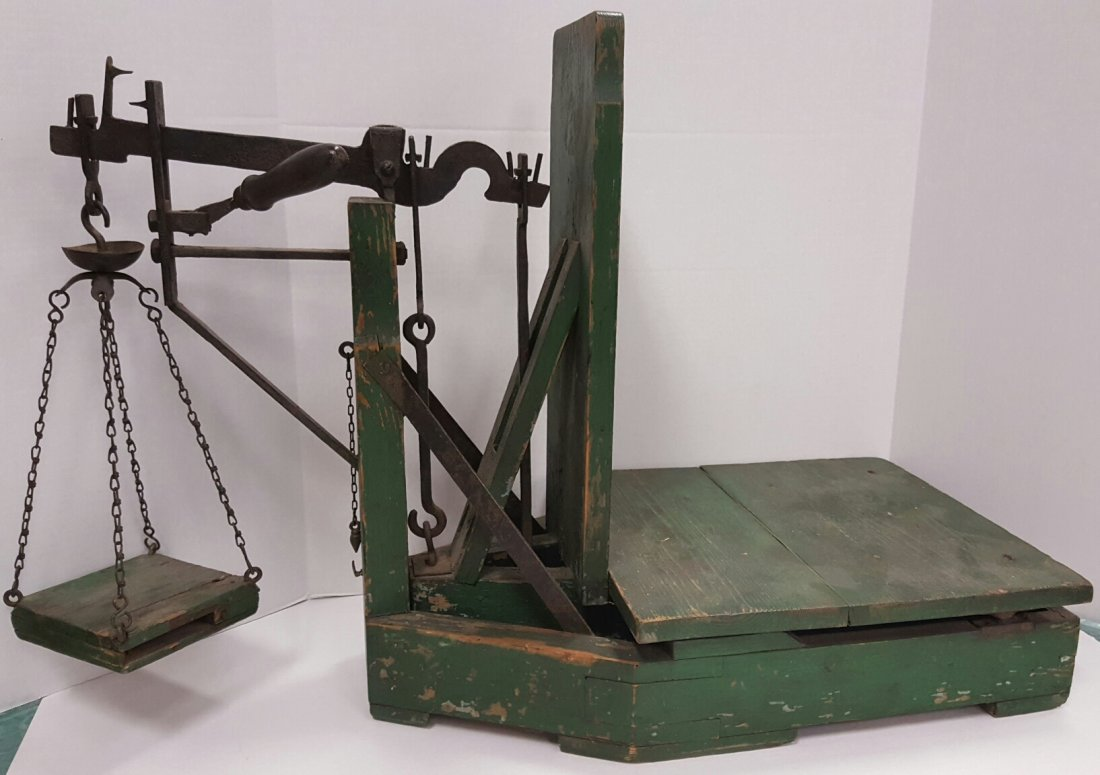 RARE Complete Wooden Gold Rush Weighing Scale
