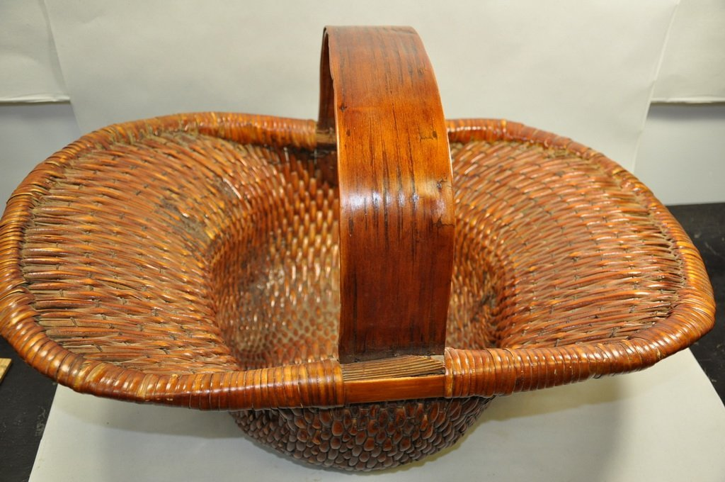 Woven Bamboo Carved Basket