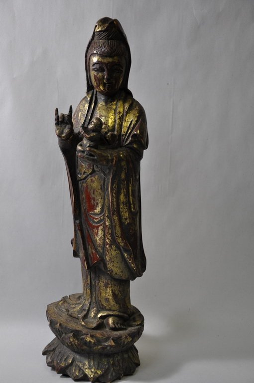 Chinese Carved Wooden Figure Kwan Yin