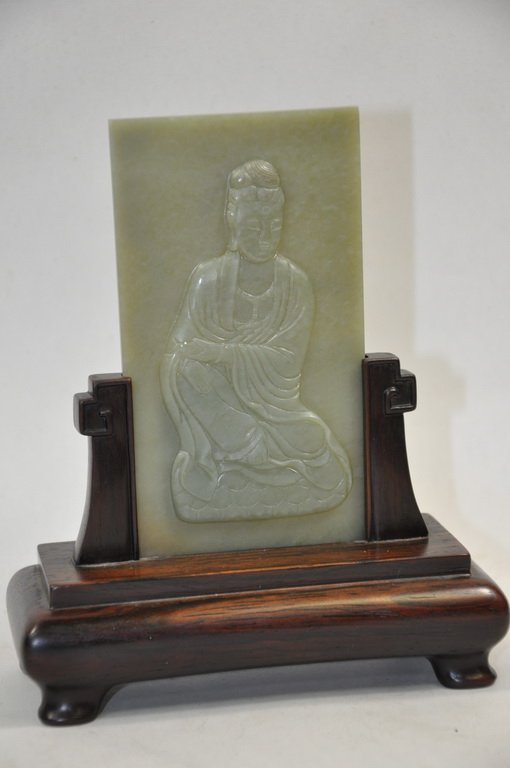 Carved Nephrite Celadon Jade Table Screen Of Kwan-Yin