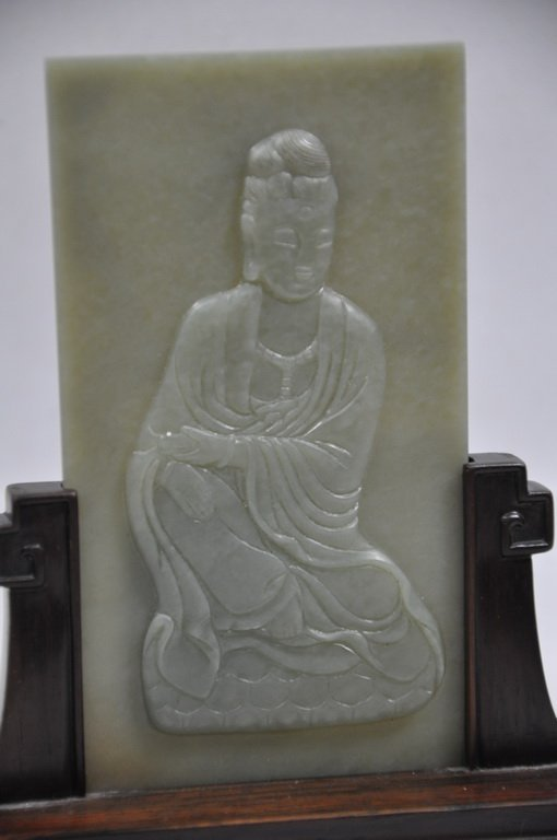 Carved Nephrite Celadon Jade Table Screen Of Kwan-Yin - 2