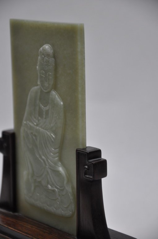 Carved Nephrite Celadon Jade Table Screen Of Kwan-Yin - 6
