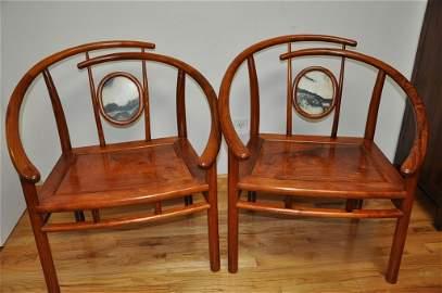 Chinese Huanghuali Horseshoe Chairs