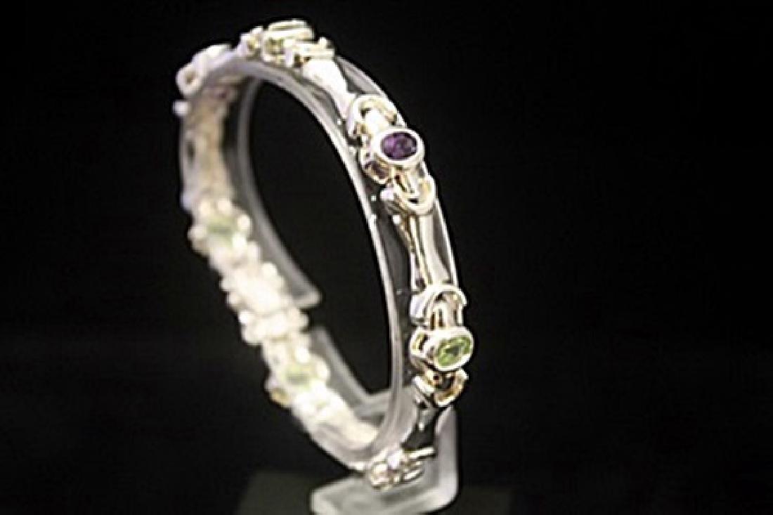 Lavish Peridot, Amethyst & Topaz Silver Bracelet