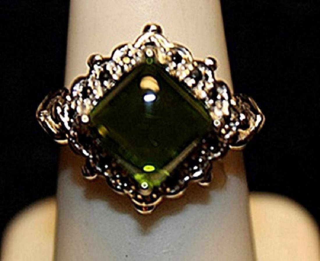 Gorgeous Peridot & White Topaz Sterling Silver Ring.
