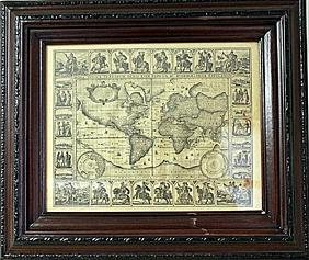 Framed Geographica Map Engraving (27E-EK)
