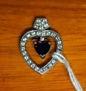 Beautiful Sterling Silver Heart Pendant with Sapphire