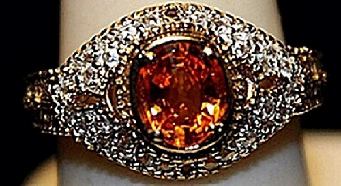 Fancy Golden Citrine & White Sapphires SS Ring. (156L)