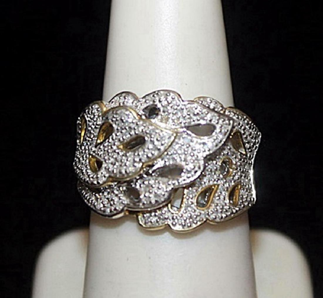 Fancy Silver Antique Style Ring with Cluster Diamonds