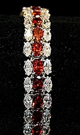 Beautiful Rose Mary Garnets & White Topaz SS Bracelet.