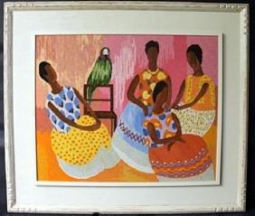 """""""NEEDLEPOINT SCENE OF WOMEN AND PARROT"""" Framed Tapestry"""