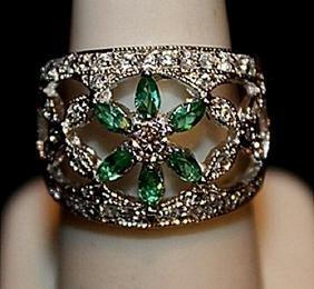 Beautiful Lab Emeralds, White Topaz & Sapphires SS