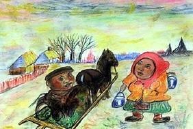 Two Boys - David Burliuk - Pastel On Paper