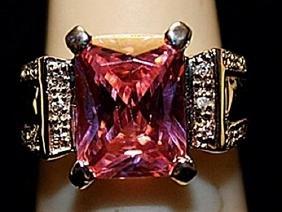 Beautiful Pink Lab Sapphire with Diamonds SS Ring.